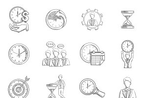 Time management sketch icons set