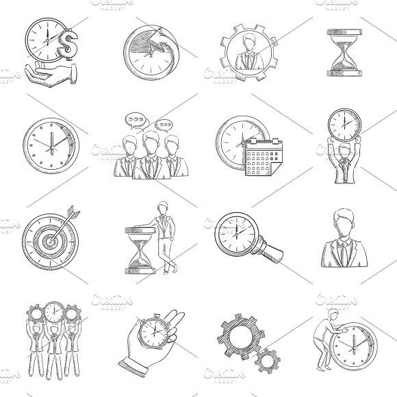 Time Management Sketch Icons Set