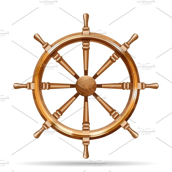 Antique Wooden Ship Wheel