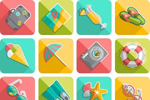 Summer vacation flat icons set
