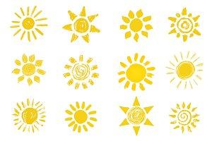 Doodle sun icons set #2
