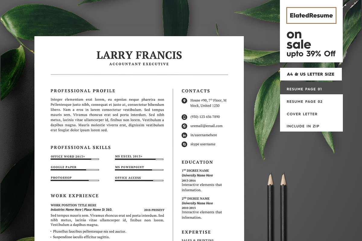Resume Template 3 pages ~ Resume Templates ~ Creative Market