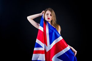 Cute girl with britain flag