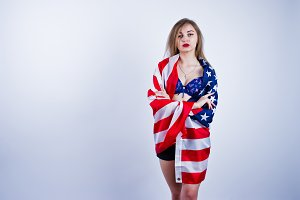 Cute girl with usa flag
