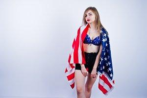 Cute girl with usa flag