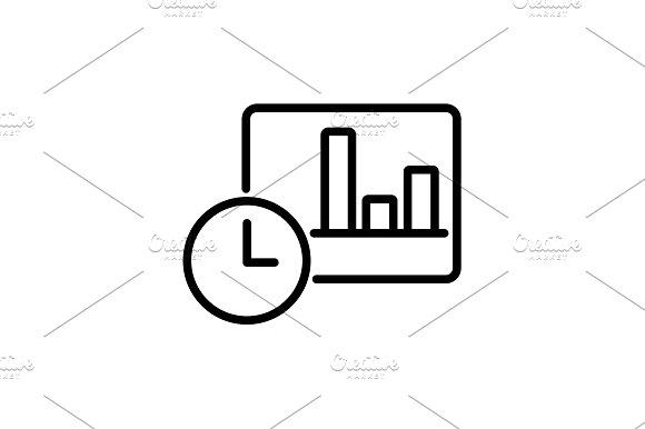 Web Line Icon Clock And Graph