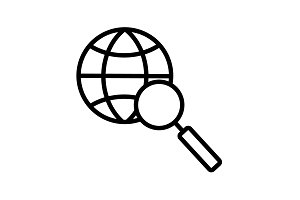 Web line icon. Globe and loupe black