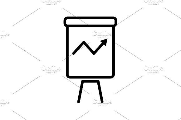Web Line Icon Flipchart Graph