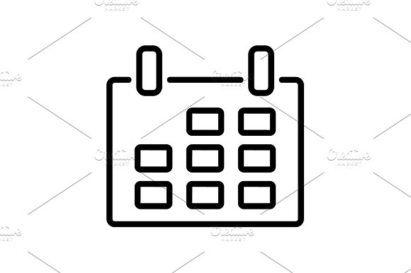 Web Line Icon Calendar Black