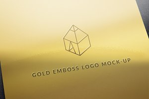 Gold Emboss Logo Mock-Up