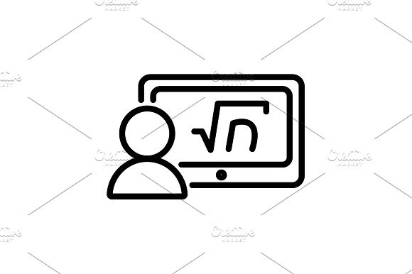 Web Line Icon Gadget With Formula