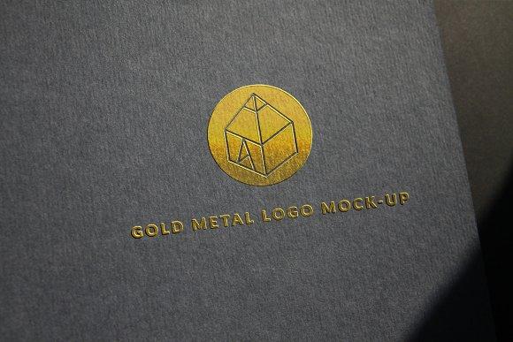 Gold Metal Logo Mock-Up