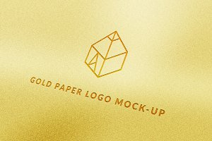 Gold Paper Logo Mock-Up