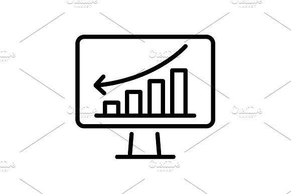 Icon Monitor With Business Graph
