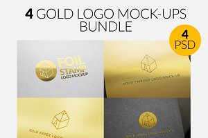 4 Gold Logo Mock-Ups Bundle