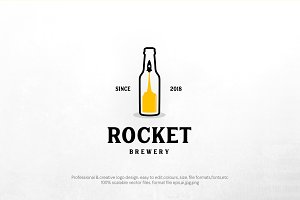 Rocket brewery logo template