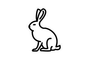 Web line icon. Hare, rabbit black