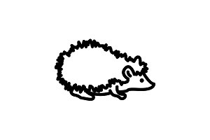Web line icon. Hedgehog&#x3B; wild animal