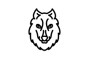 Web line icon. Wolf&#x3B; wild animals