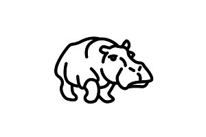 Web line icon. Hippo&#x3B; wild animals