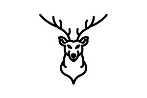 Web line icon. Deer&#x3B; wild animals