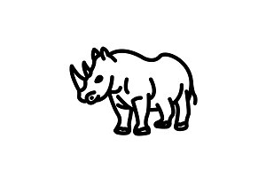 Web line icon. Rhinoceros&#x3B; wild