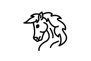 Web line icon. Horse&#x3B; wild animals