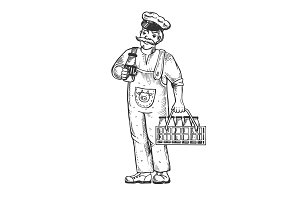 Milk man engraving vector illustration