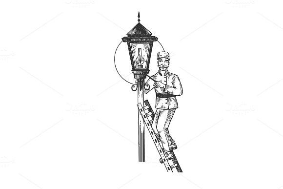 Lamplighter Man Engraving Vector Illustration