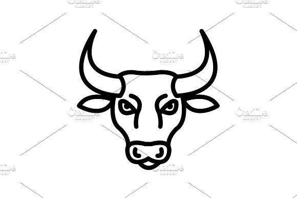 Web Line Icon Bull Wild Animals
