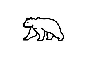 Web line icon. Bear&#x3B; wild animals