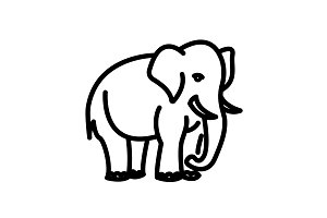 Web line icon. Elephant&#x3B; wild animal