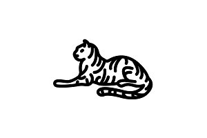 Web line icon. Tiger&#x3B; wild animals