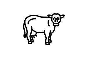 Web line icon. Cow, livestock black