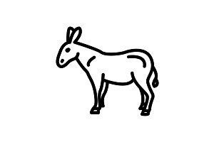 Web line icon. Donkey, livestock