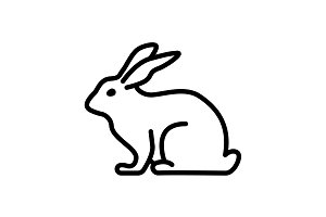 Web line icon. Rabbit, bunny black