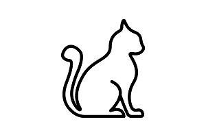 Web line icon. Silhouette of cats