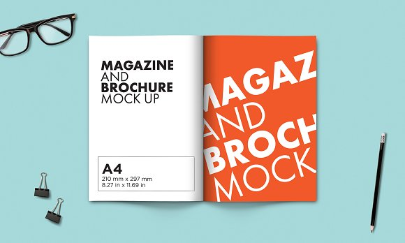A4 Brochure And Magazine Mock-up