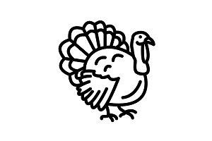 Web line icon. Turkey black on white