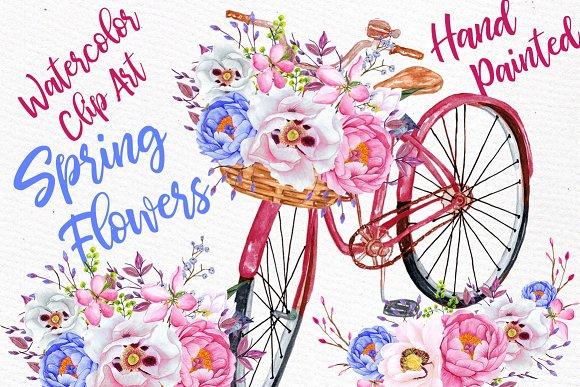 Watercolor Spring Flowers Clip Art