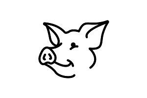Web line icon. Pig, livestock black