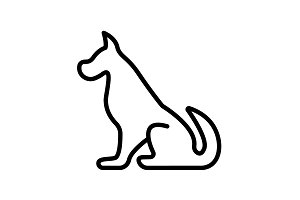 Web line icon. Silhouette of the dog