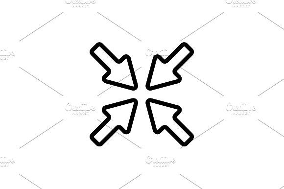Web Line Icon Overlapping Arrow