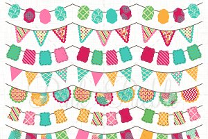 Girly Bunting Clip Art & Vectors