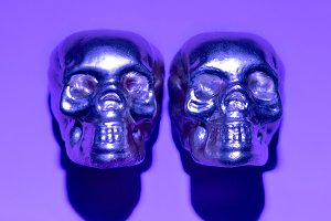 Skull Purple Paint Minimal Art