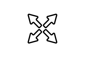 Web line icon. Arrows black on white