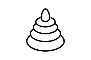icon. Pyramid, children's toy black