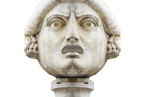 Angry Expression Head Antique Sculpture Isolated Photo