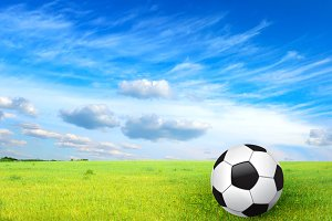 soccer ball on grass (collage)