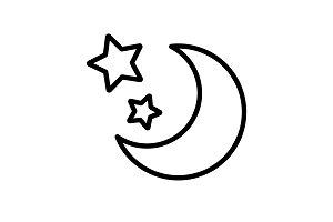 Web line icon. Moon and Stars black
